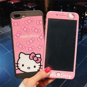 For iphone 7 plus Cases hello Kitty Cover for iPhone 8 8plus Tempered Glass Screen Flim for iPhone 6 6s plus color screen fundas