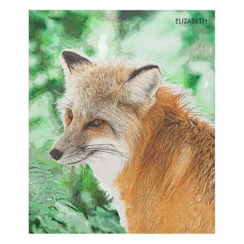 Cute Wild Red Fox Drawing Fleece Blanket