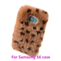 LH Top Quality Real Rabbit Fur Rhinestone Bling Plush Furry Hard Case for samsung s6 Free Shipping