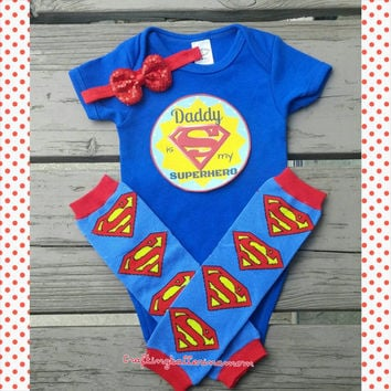 Father's Day Baby Girl or Boy Outfit - Daddy is My Superhero - First Father's day - Leg Warmers - Set - Headband - Photo Prop - Superman