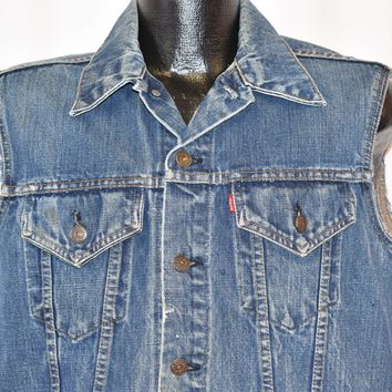 80s Levis Type 3 Trucker Cut Off Denim Vest Jacket Medium