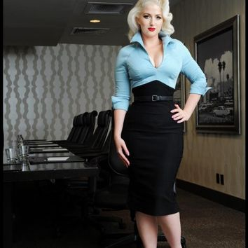 Lauren Color Block Dress in Blue and Black | Pinup Girl Clothing