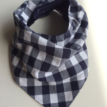 Navy and white bandana scarf baby bib, dribble bib, Velcro fastener. Fits 6-36 months. Baby - Toddler.