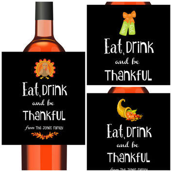 Thanksgiving Decoration - 6 Wine or Beer Thanksgiving  Labels - Thanksgiving Party Waterproof Beer Stickers - Free Personalization
