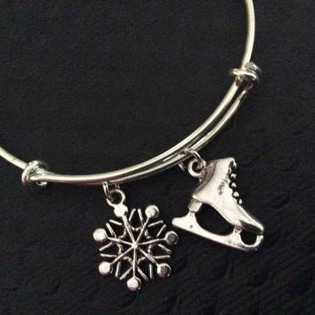 Ice Skating with Snowflake Charm on Expandable Adjustable Wire Bangle Bracelet Skaters Gift Unique