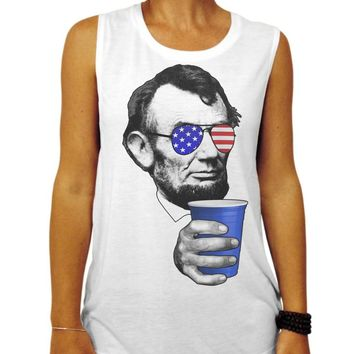 4th of July Shirt, Drinkin Lincoln American Flag Muscle Tee, Funny Fourth of July Patriotic Party Tank, America Drinking Shirt, gym tank