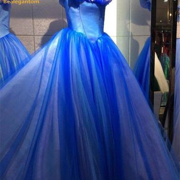 Bealegantom Blue Ball Gown Quinceanera Dresses 2017 Beaded Sweet 16 Dress Lace Up For 15 Years Vestidos De 15 Anos QA1226