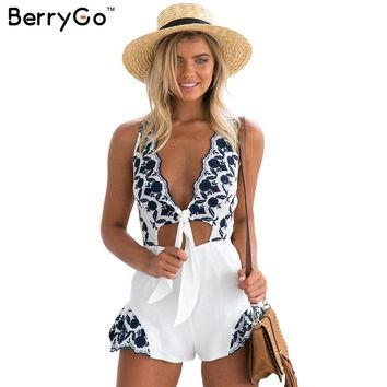 BerryGo Elegant floral embroidery jumpsuit romper women Sexy v neck cut out sleeveless playsuits Summer beach overalls leotard