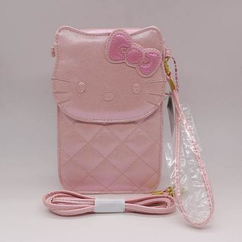 2017 news hello kitty coin purse bag women wallets High quality PU children's purse wallet for girls Can put cell phone