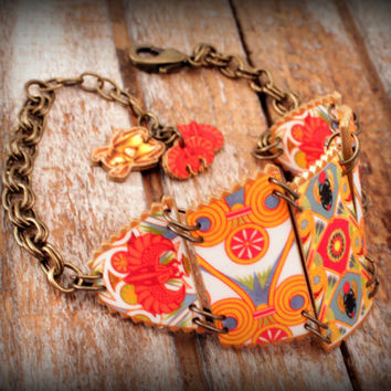 Egyptian - Bracelet - Revival - Vintage - Print - Egyptian Revival Bracelet - Cuff - Red - Blue - Orange - Red - Scarab - 1920's Print