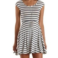 White Combo Cinched-Back Striped Skater Dress by Charlotte Russe