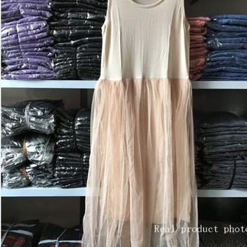 Women's Ivory/Apricot Tulle Skirt Tank Dress Perfect for Layering
