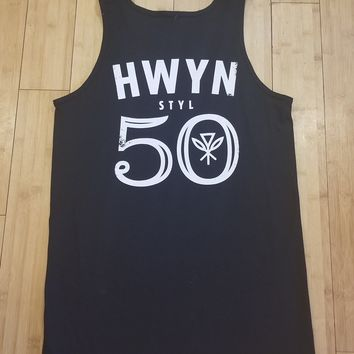 "Hawaiian Style ""Big 50"" Mens Black Tank Top"