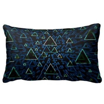 Dark blue and green triangles pillow