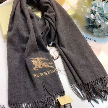 Best Online Sale Luxury Burberry Keep Warm Scarf Embroidery Scarves Winter Wool Shawl Feel Silky And Delicate - Black