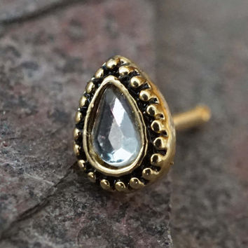 Teardrop with Crystal Gold Nose Ring Nose Stud