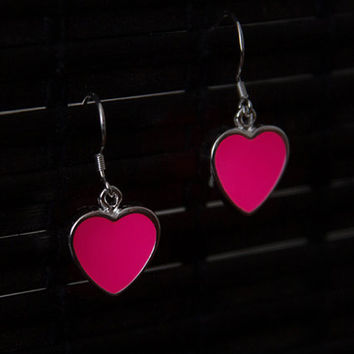 GLOW in the DARK Earrings - Pink Hearts, Glowing Heart, Glow Jewelry, Glowing Earrings, Love Jewelry, Pink Glowing, Pink Earrings