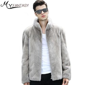 M.Y.FANSTY 2017 Winter Long Sleeve Mink Coat Zipper Pure Grey Real Fur Warm Cool Man Stand Collar Business Casual Mink Coats