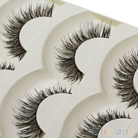 Fashion Handmade False Eyelash 5 Pairs Long Black Soft Fake Eye Lash Extension