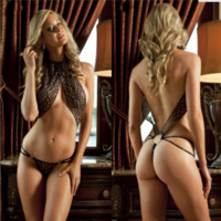 Extreme Temptation Leopard Sleeveless Halter Backless Hollow Bandage thong Bodysuit Erotic Lingerie Bikini
