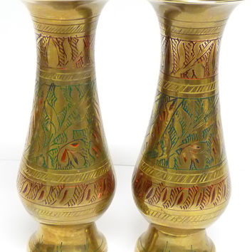Vintage, Brass Vases x 2, Pair, Solid Brass, Heavy, Black, Red, Hand Painted, Made in India, Bulbous shape