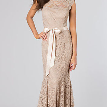 High Neck Lace Gown by Morgan and Company