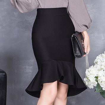 spring and summer high waist slim hip skirt female bust skirt ruffle slim midguts fish tail skirt step skirt