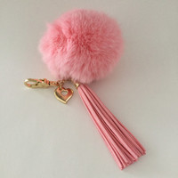 Pink 10 cm Rabbit fur pom pom ball keychain or bag pendant with heart charm leather tassel