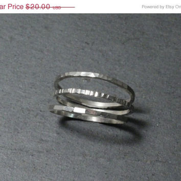 SALE 20%off Hammered Silver Stacking Ring Set of Three Thin Minimalist Rings