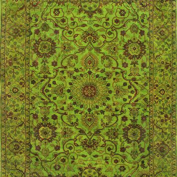 Rugsville Overdyed Lime Green  Rug 11099   Overdyed, Rugsville.com