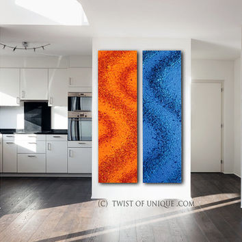 Huge abstract painting / CUSTOM set of 2 paintings/ 75 x 20 / textured painting/ red and blue painting/ Twist of unique oversized custom art
