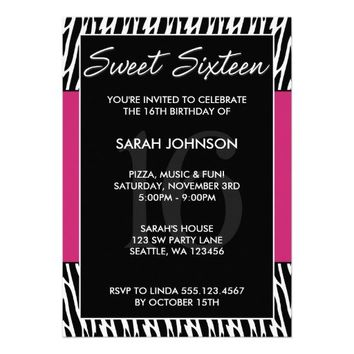 Black and Pink Zebra Pattern Sweet 16 Birthday Personalized Invites from Zazzle.com