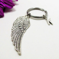 Silver Wing Keychain - Custom Keychain - Initial Keychain - Personalized Keychain - Initial Key Ring - Personalized Gift - Angel Wing Charm