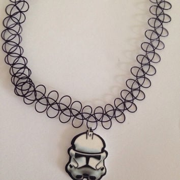Starwars storm trooper black tattoo choker