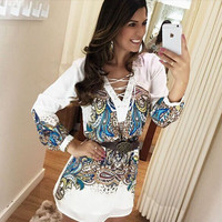 White Vintage Print Lace Up Collar Long Sleeve Chiffon Dress