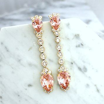 Bridal Earrings, Bridal Blush Earrings, Blush Pink Chandelier Earrings, Dusty Pink LONG, Bridal Blush Chandelier Earrings, Bridal Jewelry