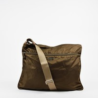 Prada Green Brown & Beige Nylon & Leather Zipped Messenger Bag