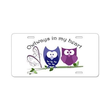 OWLWAYS IN MY HEART ALUMINUM LICENSE PLATE