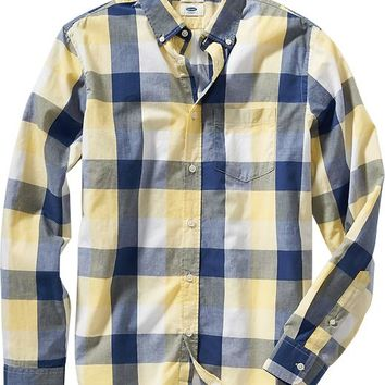 Old Navy Mens Slim Fit Plaid Button Front Shirts