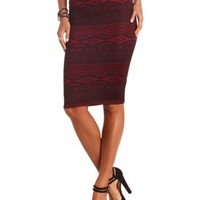 Aztec Print Bodycon Midi Skirt by Charlotte Russe - Wine Combo