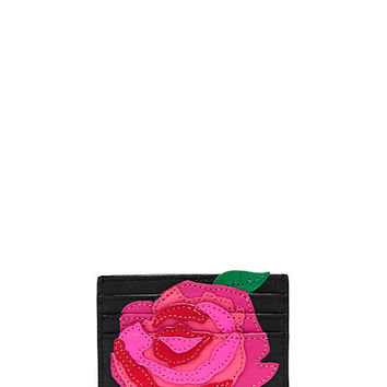 Kate Spade Rose-Colored Glasses Rose Applique Card Case Multi ONE