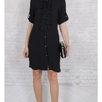 JOTHIRTY Ruffle Front Shirt Dress in