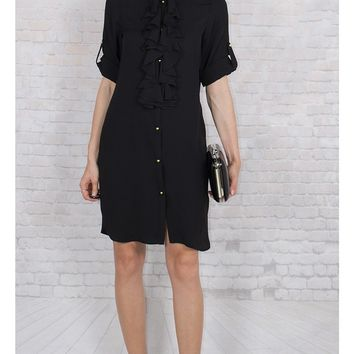JOTHIRTY Ruffle Front Shirt Dress in Black
