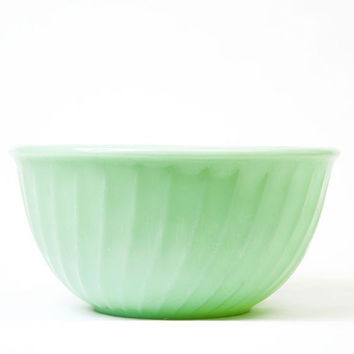 Vintage Jadeite Glass Swirl Fire King Mixing Bowl