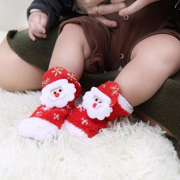 2 Pair Fashion Design Baby Sweat Mother Children Baby Cartoon Christmas Casual Unisex Socks Baby Christmas Socks