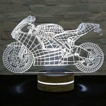 Motorcycle Shape, 3D LED Lamp, Home Decor, Table Lamp, Office Decor, Plexiglass Lamp, Decorative Lamp, Nursery Light, Acrylic Night Light