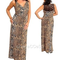 WoMeNS PLuS SiZe DReSS aNiMaL PRiNT RuCHeD CoWL SHeeR LaCe BaCK LoNG MaXi DReSS