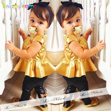 2016 New Summer Toddler Girls Boutique Clothing Set Top+Leggings 2pcs Girl suits Kids Costume Baby Clothes Infant Outfits BC1124