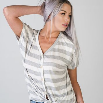 Heather Gray and White Striped Top