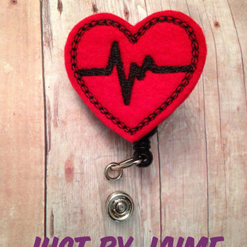 Medical professional heart themed badge reel -- nurse, doctor, medical assistant, nurse practitioner, physician's assistant, LPN, CNA